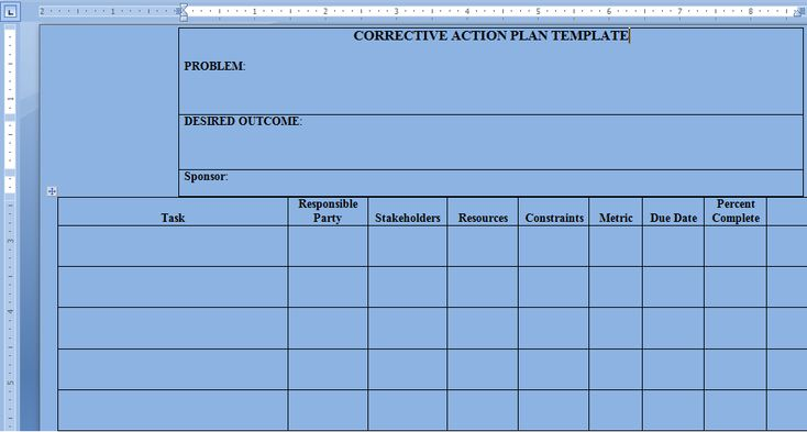 Corrective Action Plan Template Word u2013 Project Management - project action plan template