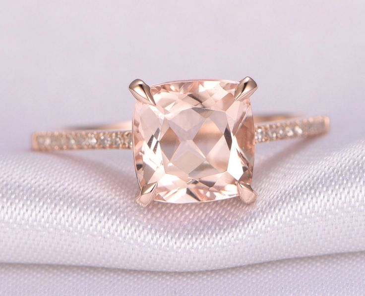 Morganite Engagement ring,14k Rose gold,8mm Cushion cut Pink Morganite,Promise,Bridal Ring,Diamond Wedding Band,Diamond Accent,Claw Prongs by milegem on Etsy https://www.etsy.com/listing/472056119/morganite-engagement-ring14k-rose