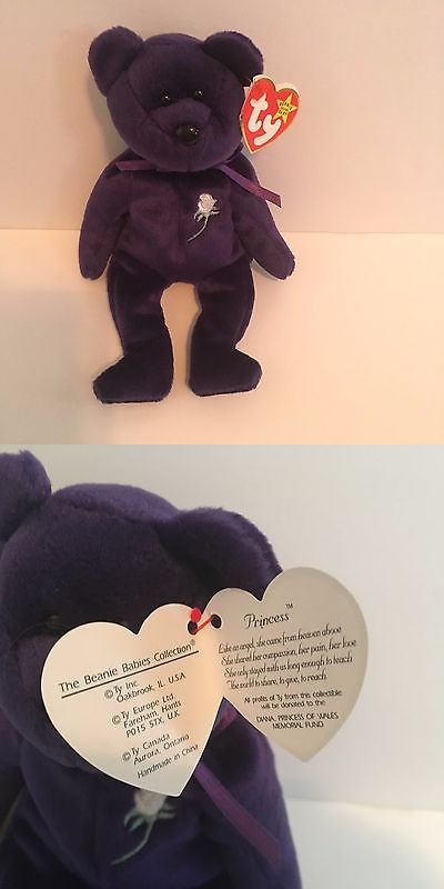 Retired 19207: Rare Princess Diana -Ty Beanie Baby Bear 1997 P.E. Pellets China-New -> BUY IT NOW ONLY: $180 on eBay!