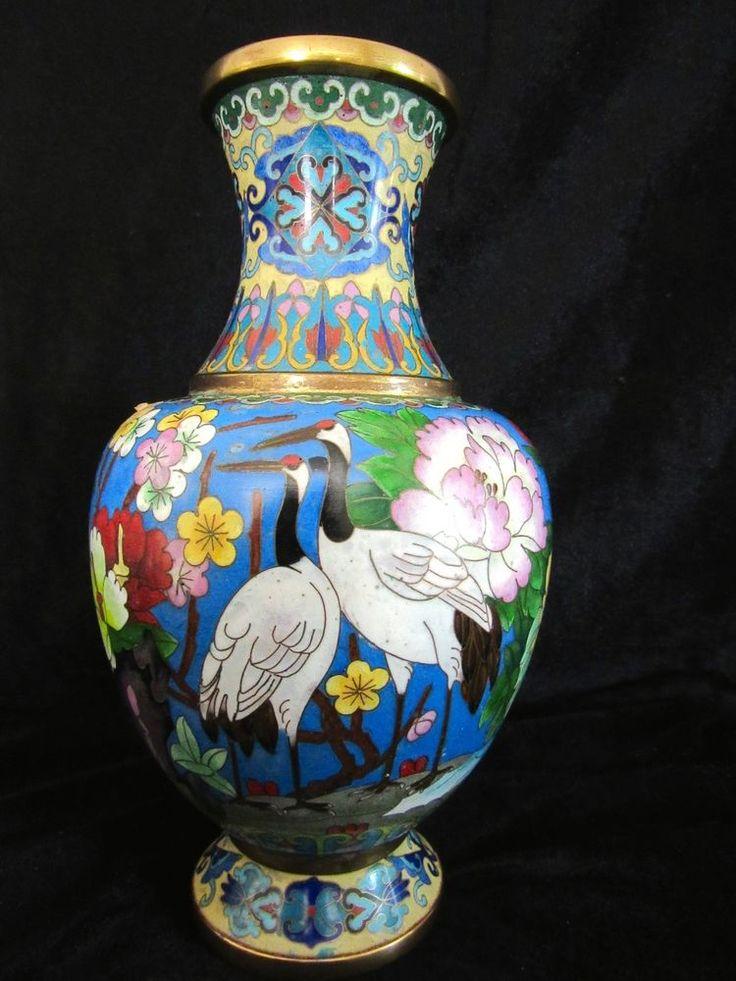 Vintage Fine Chinese Cloisonne Enameled Vase Floral Stork Crane Gold Gilding Cloisonne