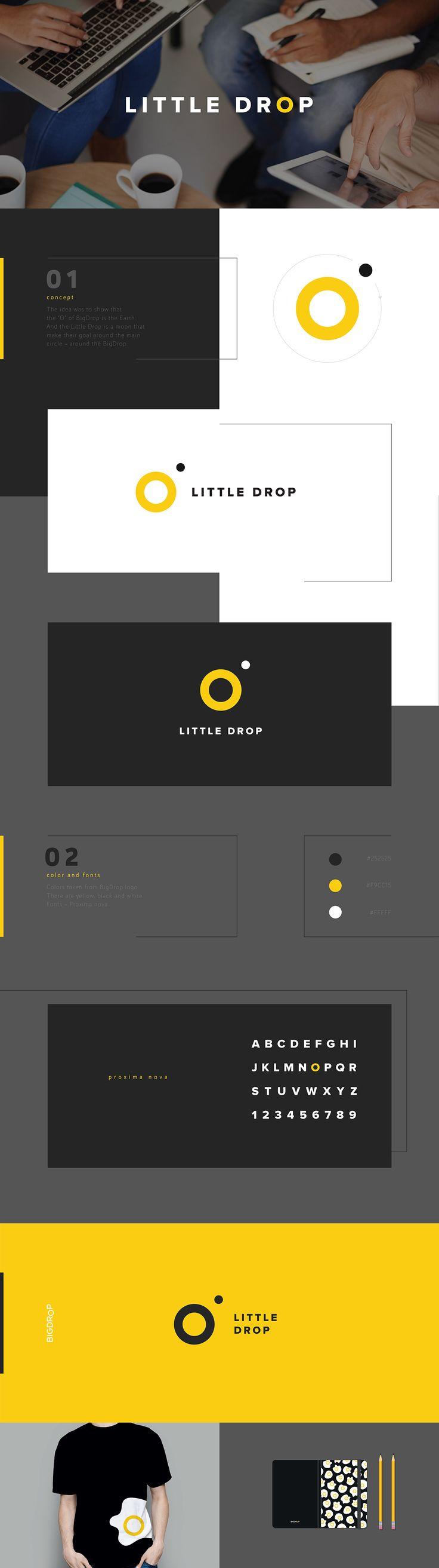 "The idea was to show that the ""O"" of BigDrop is the Earth. And the Little Drop is a moon that make their goal around the main circle - around the BigDrop. #logo #branding #corporate #identity #yellow #circle"
