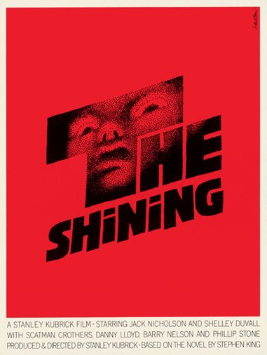 """Saul Bass movie poster, """"The Shining,"""" 1980, dir. Stanley Kubrick based on the novel by Stephen King"""