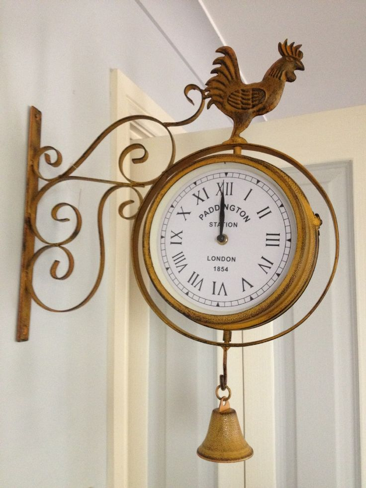 Wrought Iron Old Fashion Wall Clock With Bell Mid Century
