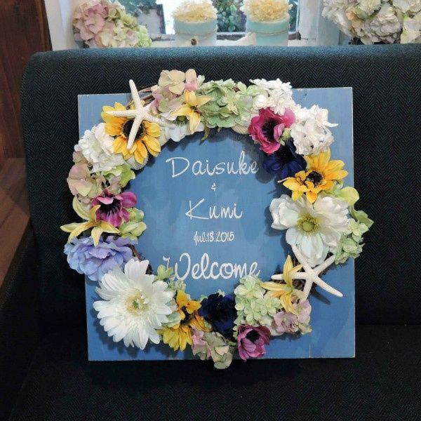 ヒマワリやスターフィッシュが夏っぽい♡♪夏の結婚式にぴったりの青いウェルカムボードにまとめ一覧♡