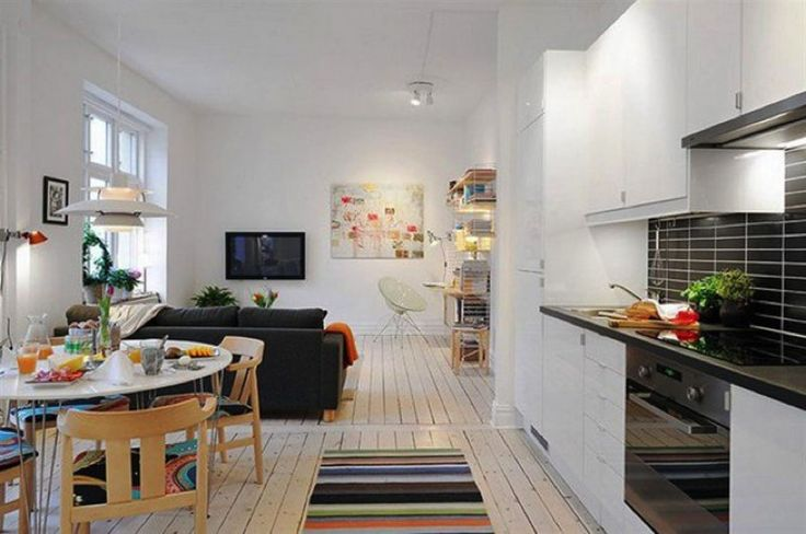 Small apartment living, kitchenette, and dining area