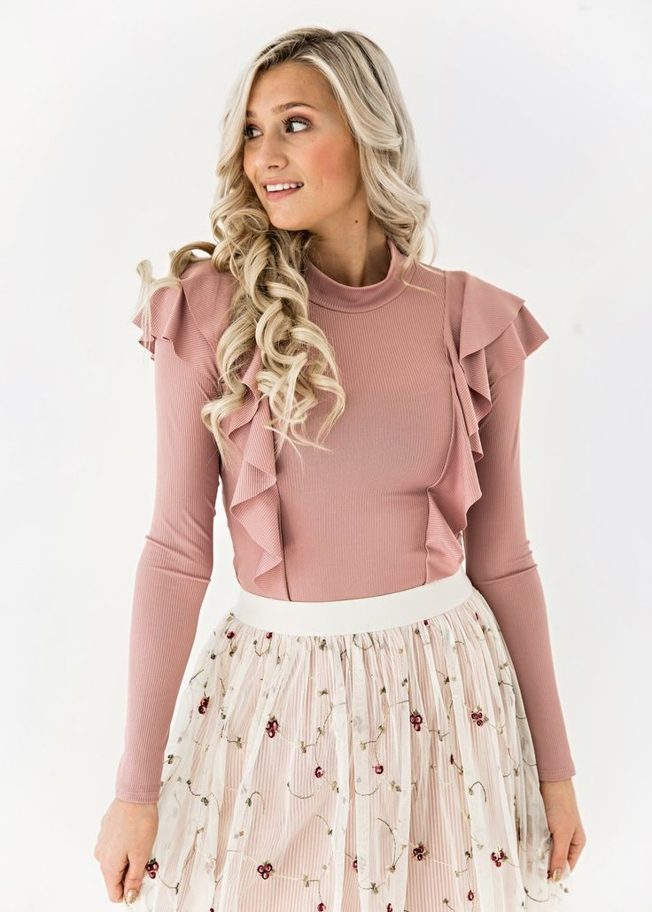 Pink Shoulder Ruffle Top, JessaKae, New Arrivals, Pinstripes and Floral Tulle Skirt, Shop, Womens Fashion, Spring Time, Feminine, Skirt, Floral, Tulle, Pink, Details, Girly, Womens Style, Dressy, Fashion, Style, Blonde, Beauty, Ruffles, Top, Valentines Look
