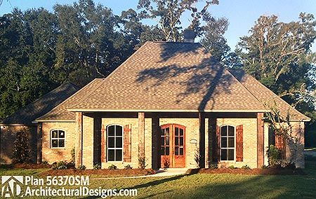 Gracious Southern House Plan - 56370SM   Acadian, European, French Country, Southern, Photo Gallery, 1st Floor Master Suite, Butler Walk-in Pantry, Den-Office-Library-Study, Jack & Jill Bath, PDF, Corner Lot   Architectural Designs