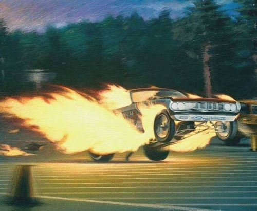 Don Prudhomme's 'Cuda Funny Car on fire and flying through the lights at Seattle Int'l Raceway.