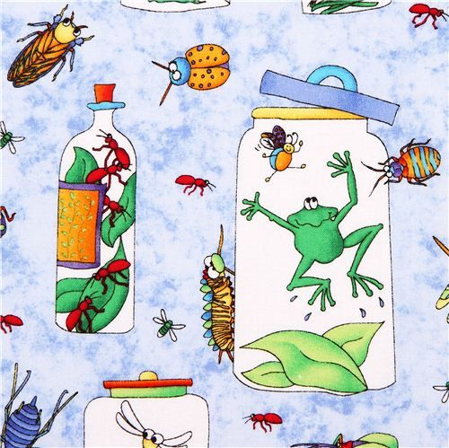 blue frog bug animal fabric Bugaboo by Northcott Studio 1