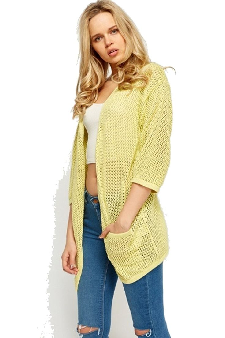 Forever - A light-weight open-knit cardigan featuring a longline  silhouette, a stripe knit pattern, an open front, long sleeves, and side  slits.