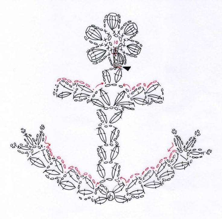 碇のモチーフ(編み図付き、イカリ、いかり、アンカー)の画像:Crochet a little   anchor