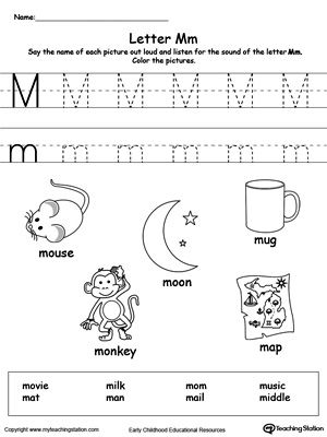 **FREE** Words Starting With Letter M Worksheet. Teach the beginning letter sound by saying the name of each picture and then allow your child to trace the uppercase and lowercase letter M in this printable activity worksheet.