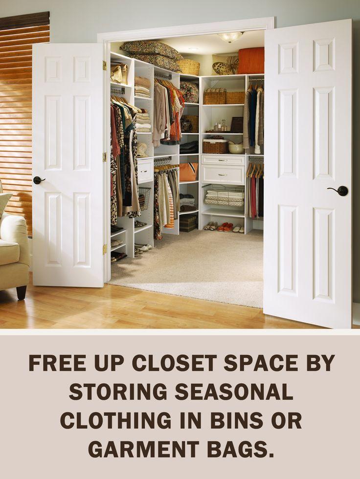 #LetsGetOrganized with @closetmaid: Free up closet space by storing seasonal clothing in bins or garment bags. #Storage #Organization #StorageTips