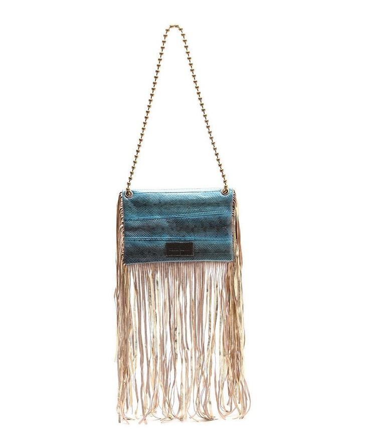 Sam Ubhi - Full Fringed Clutch Bag – Blue Snake with Handle