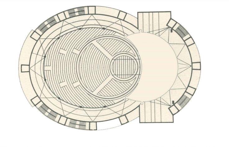 Plans of Architecture (Walter Gropius, Total Theatre, 1927, Berlin,...)