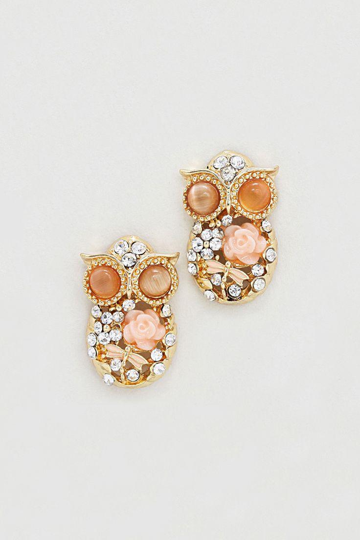 Peechy Owl Earrings on Emma Stine Limited