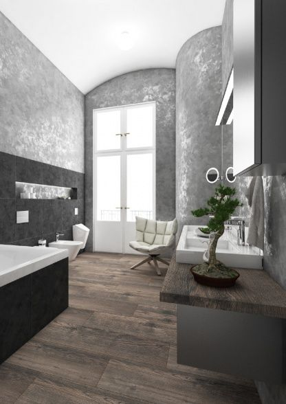 Luxusní koupelna DARK SPRING / Luxury bathroom DARK SPRING #bathroom #bathroomdesign #interiordesign #bathroomdecor #luxurybathroom #doublewashbasin #bathtub #vana #toilet #shower #tiles #wood #umyvadlo #koupelna #pisoar #ceramic #darkgrey #wallfinish #perfectodesign
