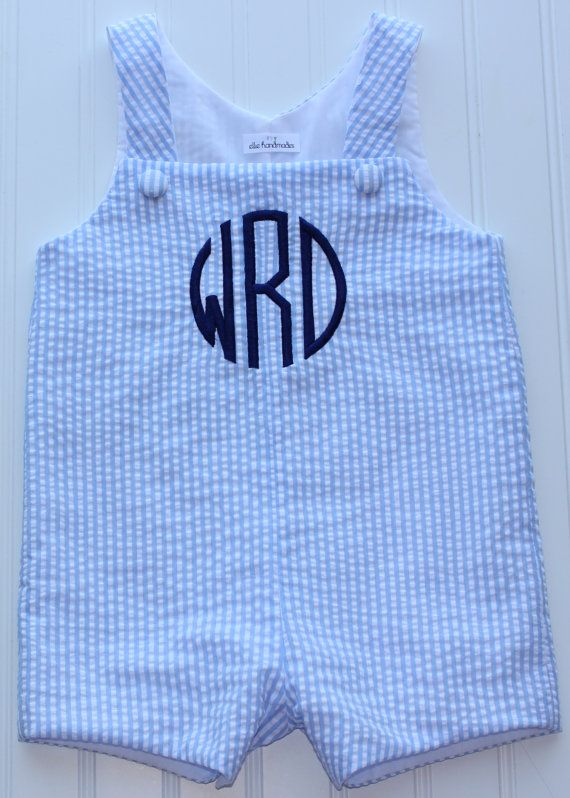 This perfectly preppy jon jon is great for your little guys wardrobe! It features a navy blue circle monogram. We can make color changes if youd