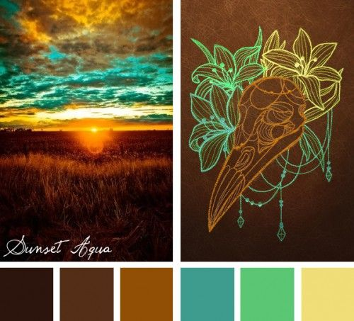 Find unexpected color combinations in nature with this  Sunset Aqua color inspiration for your embroidery designs.