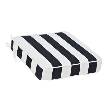Black and White Stripe Outdoor Chair Cushion