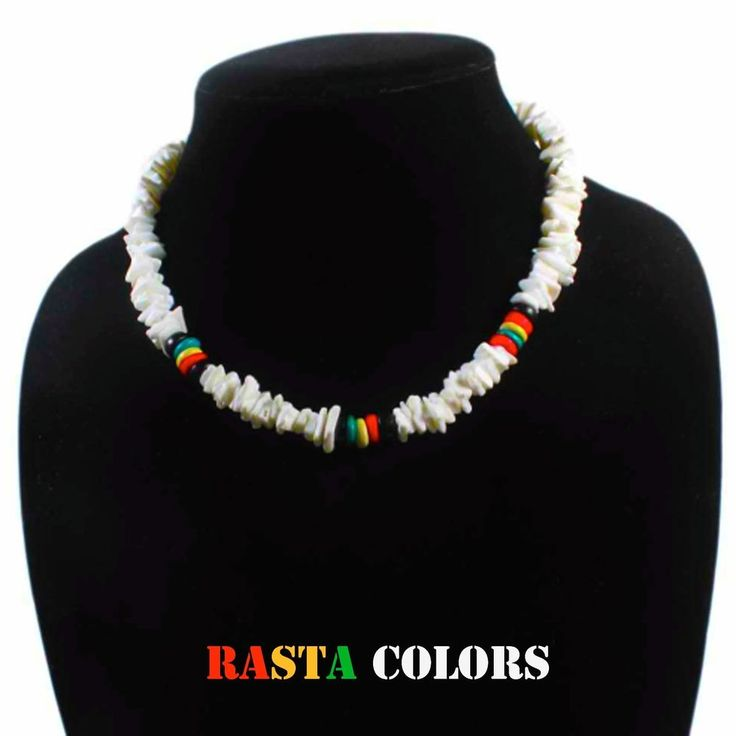 "Puka Shell Necklace Rasta Colors Choker w/Screw Clasp Hawaii Jamaica 18""/46 cm #Custom #Rasta18longor46cmCHOKERSTYLEFIT"