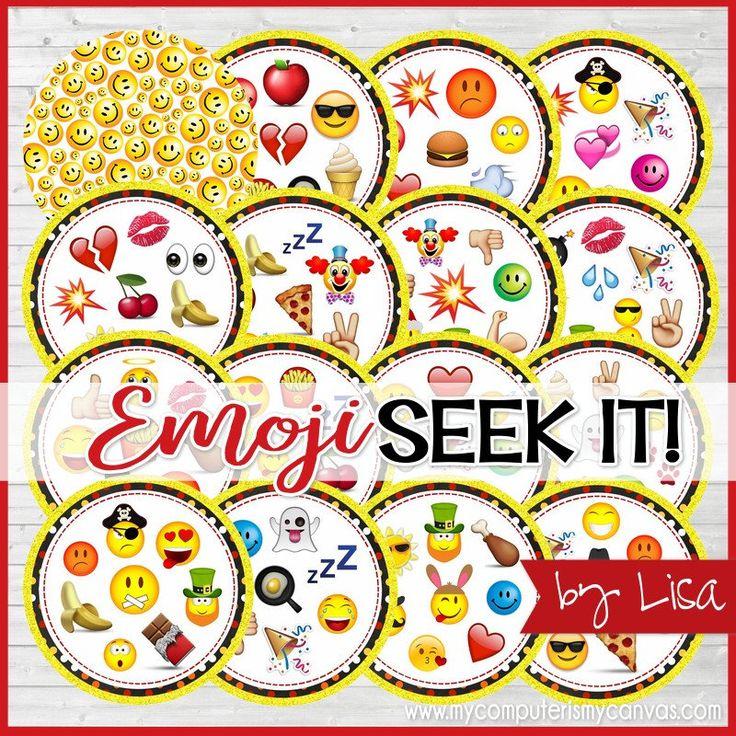 EMOJI SEEK IT Match Game, Emoji Party Game, Emoji Gift Idea, Emoji Party Favor, Emoji Party Supplies - Printable Instant Download by Lisa by mycomputerismycanvas on Etsy https://www.etsy.com/listing/507365740/emoji-seek-it-match-game-emoji-party