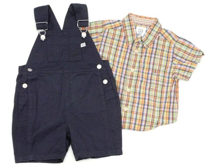 2-tlg. Kombination für Jungen:  Latzshorts, Hemd, Größe: 80  amerikanische Mode,  Anlässe: Frühling, Sommer