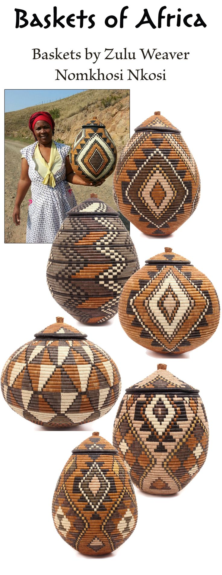 #Zulu weaver Nomkhosi Nkosi lives in the farmlands of Zululand, South Africa. She regularly sends #BasketsOfAfrica her beautiful Ukhamba baskets with traditional patterns and geometric designs. Many of her baskets feature asymmetrical designs, so the patterns are different on every side. Her creations are warm and elegant and beautiful.