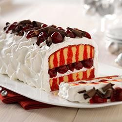 1-2-3 Cherry Poke Cake -  Dress up this store bought frozen pound cake with Cherry Jello, Cool Whip and Cherry Pie filling!!!