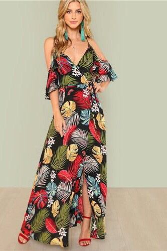 3769c56f93 Maxi floral print dress with deep V-neck and open shoulders for women to  the beach this summer. Sexy,beautiful,chic,informal,fashion with red high  heel ...
