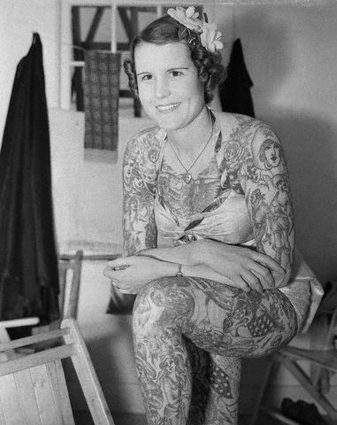 Tattooed Woman From The 50s