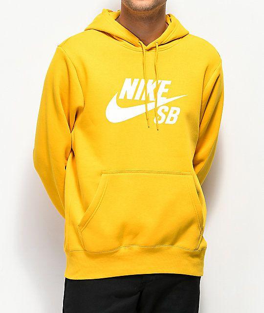 aaa1d9693d Nike SB Icon Yellow Ochre Hoodie in 2019