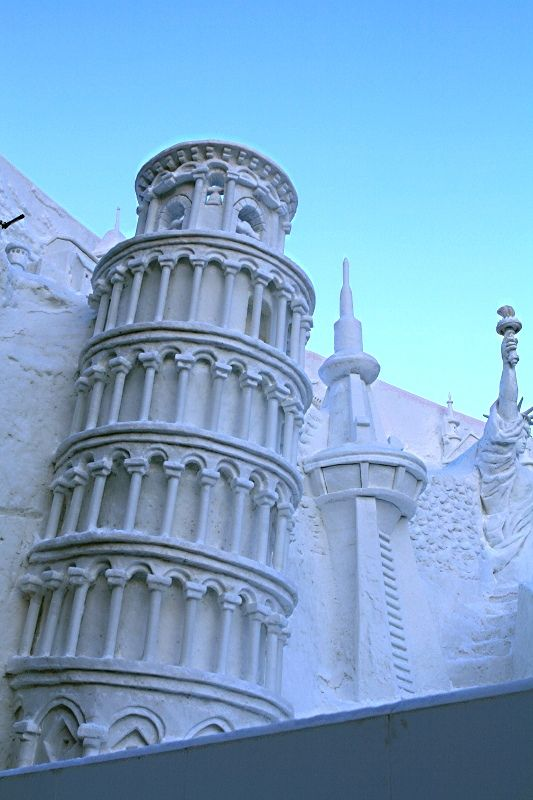 "This is phenomenal. ""Torre di Pisa"" snow sculpture at Sapporo Snow Festival,"