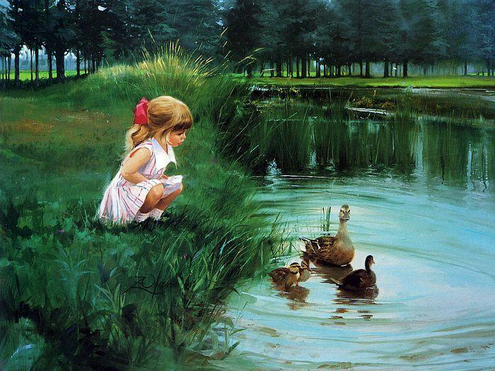 cute oil painting of children girls kids