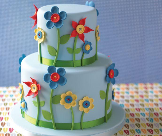 Vrolijke bloemen taart