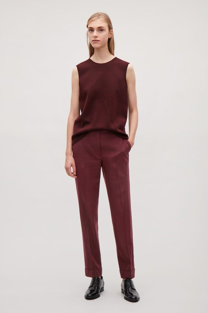 COS image 1 of Straight-leg wool trousers in Burgundy