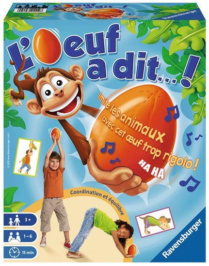 L'oeuf a dit...! de RAVENSBURGER est un jeu de société qui invite les enfants à observer, écouter et bouger... mais surtout, à garder l'oeuf bien droit ! Ce jeu d'expression corporelle est idéal pour bouger et s'amuser, seul ou à plusieurs, avec un module interactif parlant et musical qui propose 2 modes de jeu rythmés et rigolos :Mode 1 : un jeu d'adresse et de concentration pour que l'enfant se familiarise avec l'oeuf. L'enfant osberve les cartes et imite ce que fait le petit singe sans…