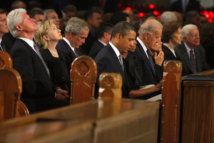 (L-R) Former President Bill Clinton, Secretary of State Hillary Clinton, former president George W. Bush, President Barack Obama, first lady Michelle Obama, Vice President Joseph Biden, his wife Jill Biden, former first lady Rosalynn Carter and former President Jimmy Carter wait for the services to begin at the funeral of U.S. Senator Edward Kennedy at the Basilica of Our Lady of Perpetual Help August 29, 2009 in Boston, Massachusetts.