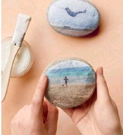 Photos printed on rice paper and decoupaged onto rocks, Martha Stewart, LOVE this!