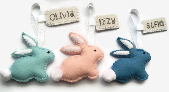 Personalised Easter Decorations Easter Bunny Felt by Sazparillas