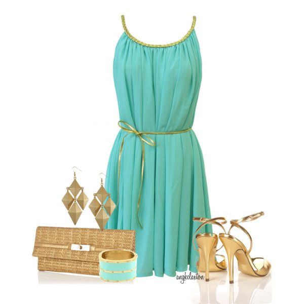 Turquoise Dress Outfit (angkclaxton)  see this is what I am talking about....luv, luv, luve it!!!! :)