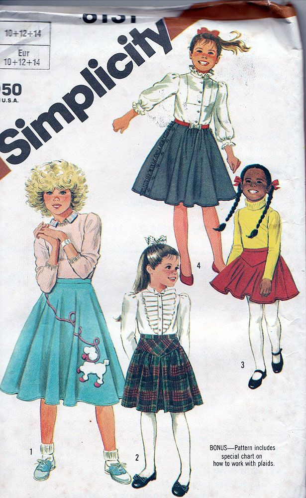 Girls Poodle Skirt Pattern Simplicity 6131 1983 Vintage Size 7 8 10 Unucut In Collectibles Sewing Patterns Children
