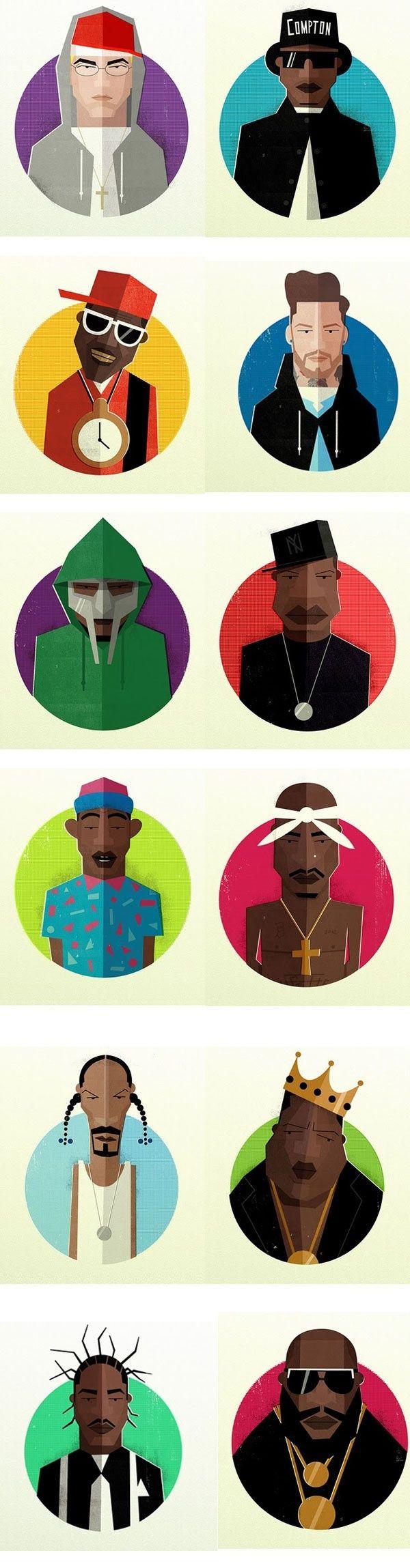 #扁平化##头像设计#hip hop h...