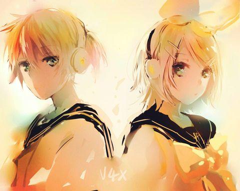 Vocaloids - Len & Rin Kagamine (鏡音レンとリン) -「start!!」/「MIKO@お仕事募集中」のイラスト [pixiv]
