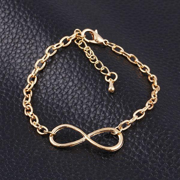 3 Color pulseras mujer Moda de Nueva populares de Oro / Plata / Negro Cruz Infinity Cadena Pulseras y brazaletes joyería para las mujeres