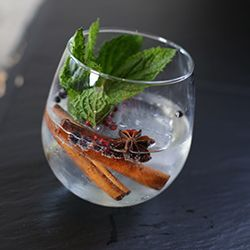 Basilica G&T | 2.0 oz. No. 209 Gin, 4.0 oz. Fever Tree Indian Tonic, 2-3 cinnamon sticks, 1 star anise, orange zest, juniper berries, pink peppercorns, mint. Add gin and tonic over a large ice cube. Add large mint sprig, cinnamon sticks, star anise, orange zest, juniper berries and pink peppercorns to glass.