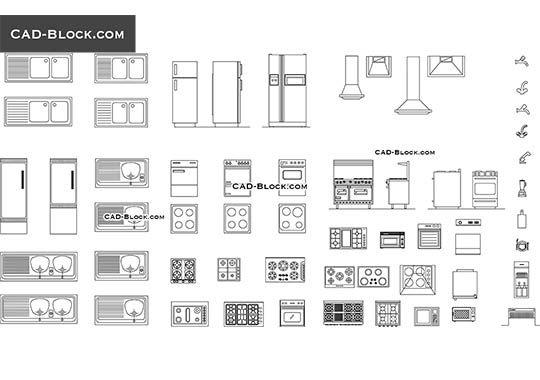 Kitchen Equipment Free Autocad Blocks Идеи для дома In