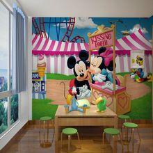 3D mural sala de estar / cama / sala do kid, Parede configuração TV papel de parede 3D Minnie e Mickey 3D murais papel de parede foto papel de parede(China (Mainland))
