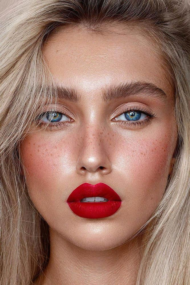 Wedding Makeup 2019 Natural Blonde Bride With Red Lips