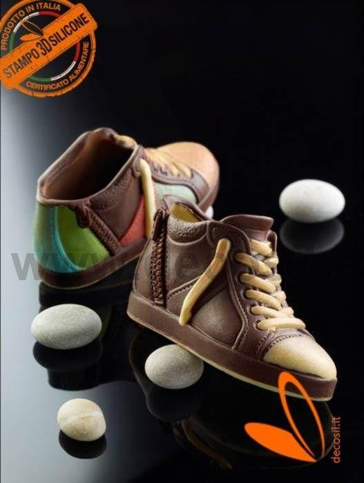 moule en silicone pour le chocolat moulé avec forme de Chaussure Basket Montante avec Fermeture Éclair - Chaussure Basket Montante avec Zip moule en silicone pour le chocolat -